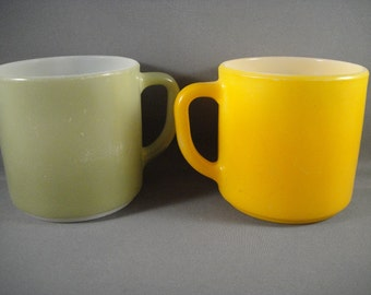 Mustard and Avocado Colored Painted Milk Glass Mugs Pair Federal Glass