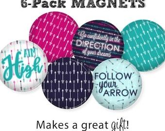 Arrows Magnets • SET OF 6 • Motivational • Aim High • Graduation Gift • Dorm Decor • Follow Your Dreams