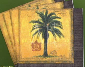 PN111 ~ Set of 4 Paper Napkins ~ by Cypress Home ~ 6.5 x 6.5 Tropical Palm Tree