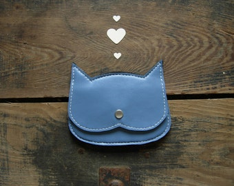 50% of sale, End of stock, Blue faux Leather  Cat coin purse, Vegan pouch, , black faux leather crazycatlady  pouch