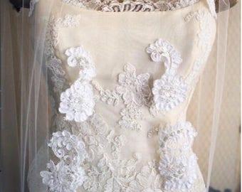 READY TO SHIP Fingertip Alençon Appliqué Lace Veil, Illusion Tulle Wedding Veil - Delphine