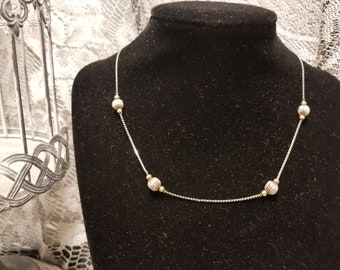Silver Ladies Necklace With Ornate Beads