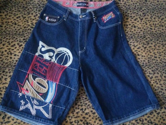 NBA shorts, vintage denim basketball shorts, Lakers Bulls Knicks hip-hop shorts 90s hip hop clothing, 1990s, gangsta rap,old school size W32