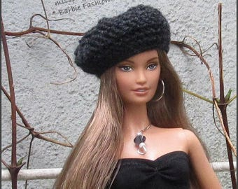 Fashion Doll Beret Hat, Barbie Doll Slouchy Hat, Doll Hat, Barbie Clothing, Hat For Barbie Dolls, Crochet Hat