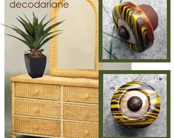 Zebra closet door knobs yellow ocher and Brown, bronze metal nail