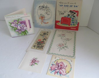 Greeting Cards 30s 40s Vintage Greeting Cards Birthday Get Well Cards Thinking of You Cards  used Greeting Cards Art Deco Paper Ephemera