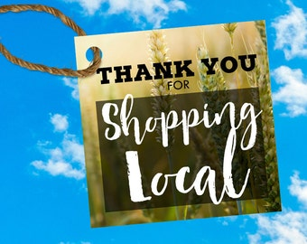 """THANK YOU for Shopping Local - 2x2"""" product tags - print on 4x6"""""""