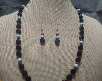 Blue Howlite and Red Coral and Black Obsidian Two Piece Set