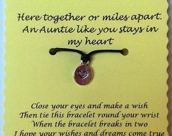 Auntie gift, Auntie Wish Bracelet, Aunty Wish Bracelet, Auntie Keepsake, Aunty Gift, Auntie Easter Gift, Aunt Gift, Auntie Charm Bracelet