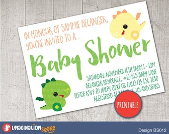 Personalized Green and Yellow Baby Dragon Baby Shower Invitation PRINTABLE / Gender Neutral Baby Shower / Printable Invite / Kawaii Dragon