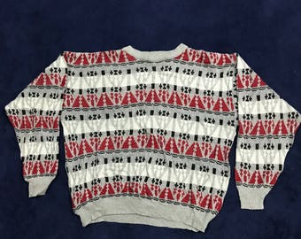 Vintage Tribal Geometric Abstract Line Knitted Sweaters/Pullover 90s