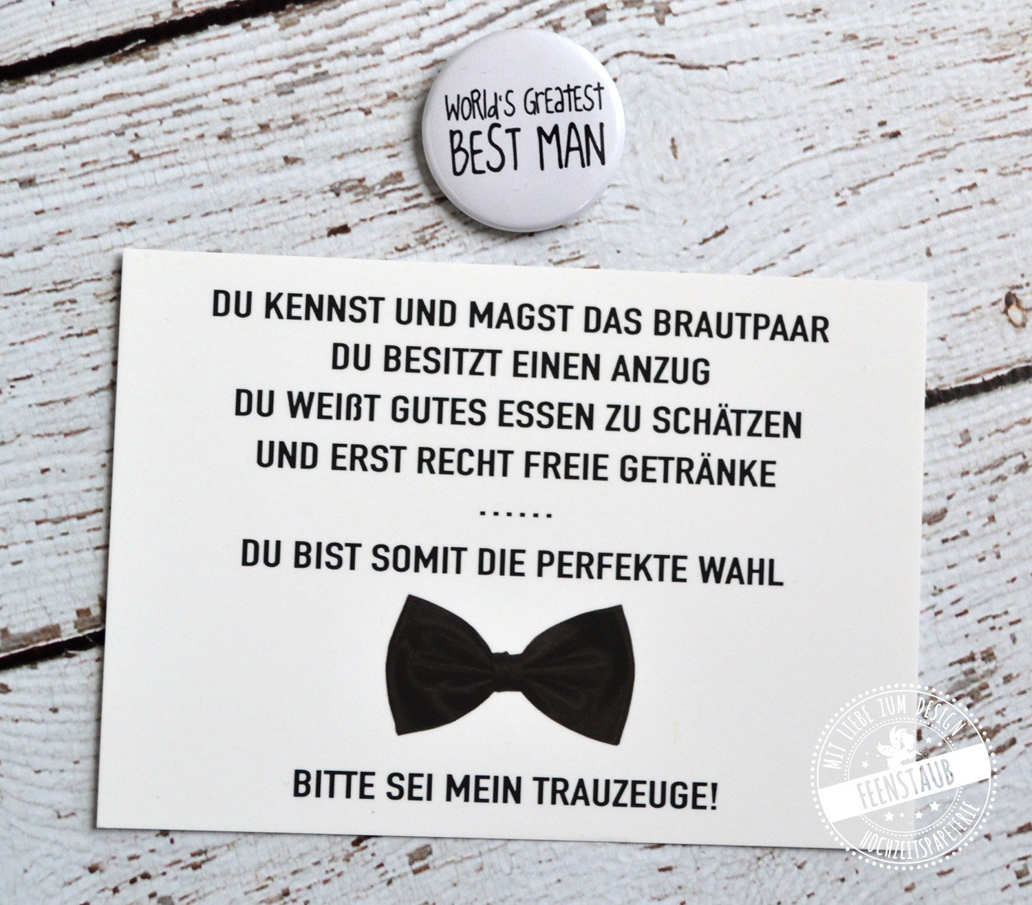 Best man questions gift for good man card with button top