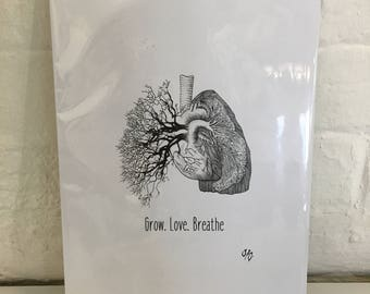 Grow. Love. Breathe. A4 Print By Jo Chastney