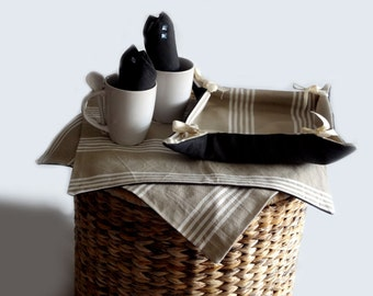 Breakfast set with bread basket and table mats ecru and brown - kitchen accessories for the table
