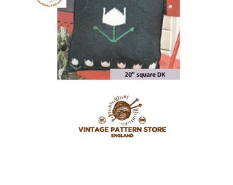 "Tulip pattern, square cushion cover 20"" x 20"" in DK - Vintage PDF Knitting Pattern 1632"