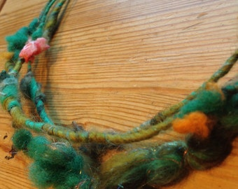 Necklace of hand spun wool