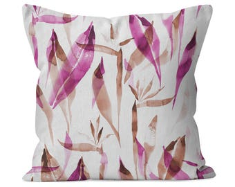 Watercolor Tropical Pink cotton twill decorative throw pillow - custom made for home decor, nursery, kids room or a housewarming gift