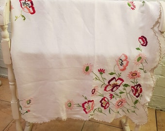 Large Vintage, Heavily Hand Embroidered Tablecloth, Scolloped Edge, Floral