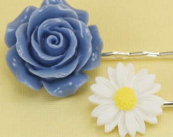 2 Vintage Lavender Rose and Daisy Hairpins