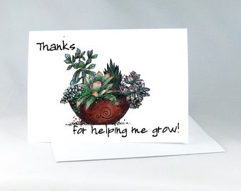 Mother's Day Card, Succulent Card, Teacher Card, Birthday Card For Mom, Plant Card, Floral Thank You, Mom Birthday Card, Gift For Mom, 1241