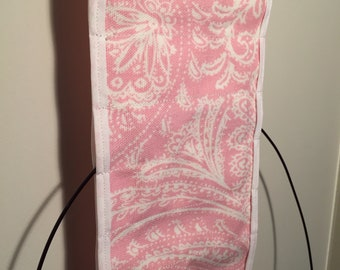 Pink & White Hanging Circular Knitting Needle Organizer, Needle Case, Clutter Reducer