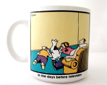 The Far Side 1982 DAYS BEFORE TELEVISION Gary Larson Coffee Cup Mug
