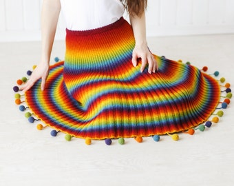 "Knitted woolen skirt ""Crazy Rainbow"""