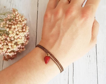 Strawberry Bracelet: small Strawberry to eat, to wear wrap around bracelet or as a necklace!