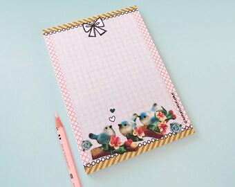 Notebook Blue Birds - illustrated stationery