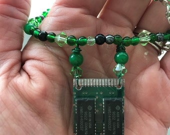 Recycled Circuit Board Necklace - Green - Beaded with Swarovski Crystals