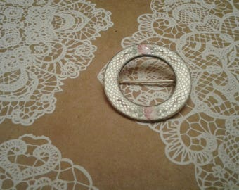 Vintage Guilloche and Floral Accent Circle Pin