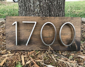 Address Plaque (Horizontal) Rustic Modern Wood & Metal   Personalized Box Number Sign Vertical 3D Mailbox Box House Number