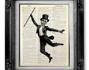 Dark Art GOTH Art, Skull Print Gothic Art Print, SKULL Painting Skeleton Art Print, Skull Wall Art Horror Decor, Dance SKELETON Illustration