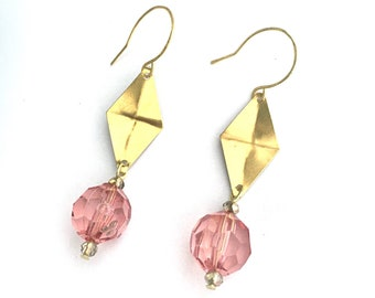 Translucent Pink and brass diamond shaped hand hammered earrings.