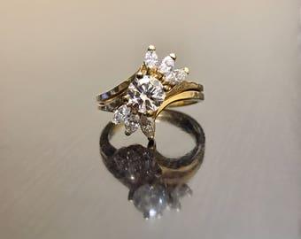 14K Yellow Gold Bridal Set Diamond Engagement Ring - 14K Gold Diamond Wedding Ring - 14K Marquise Diamond Ring - Art Deco Gold Diamond Ring