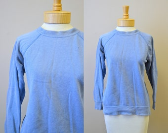 1980s Blue Distressed Sweatshirt