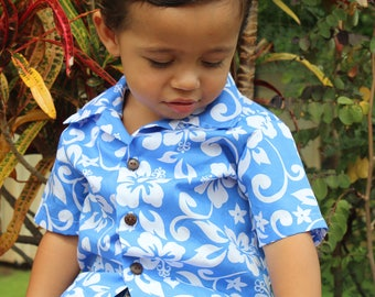 infant Boy Hawaiian Aloha Shirt........*Handmade in Hawaii short sleeve keiki shirts with coconut buttons