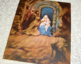 Vintage Christmas Greeting Card, Mid Century, Nativity Scene, Religious, Christianity  (789-15)