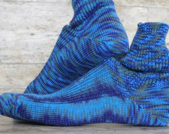 Rugged Electric BLUE Mens Thermal Merino  Dress Socks - OOAK Heritage Patterned Casual Socks - Mismatched Extra Durable Warm Winter Socks