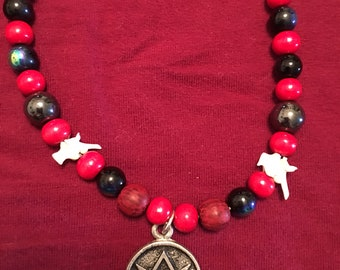 Thelemic Necklace with Hematite and Python Vertebrae