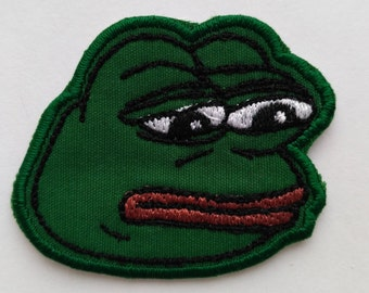 Patch #1. Pepe patch. Frog patch. Tumblr patches, Embroidered Iron On Patch, Iron on Applique, Sewing Appliques