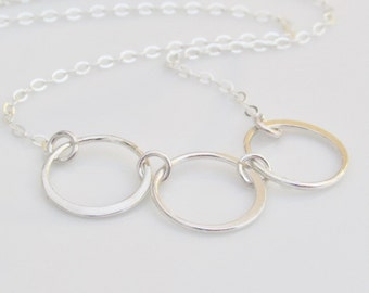 Sterling Silver Ring Linked Necklace, Family Bond, Joining Circle Necklace, Gifts For Her, Infinity Necklace, Sterling Open Circle Necklace