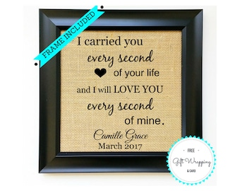 FRAME INCLUDED Miscarriage Sympathy Gift Memorial Gifts Loss of Baby Unborn Child In Memory of Son Daughter Tribute for Parents Burlap Print