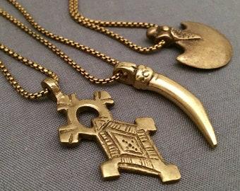 kamau - brass warrior necklace