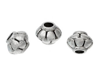 100 Antique Silver Bicone Spacer Beads 5mm x 4mm (B158e)