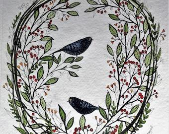 Two Blackbirds Floral Wreath, original watercolour painting