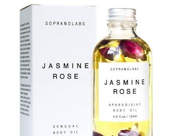Jasmine Rose Body Oil. Sensual Natural Moisturizer. Spa Massage Organic Oil with Rose & Jasmine Flowers. Luxurious Hydration. Aphrodisiac