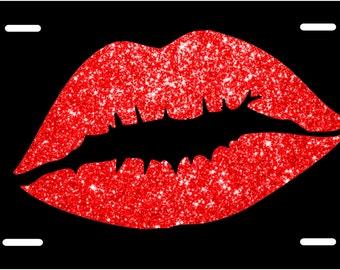 Glitter Lips License Plate. License Plate Frame. Custom License Plate. Lips License Plate. Black and Red License Plate.