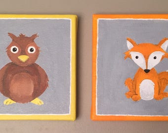 forest animal wall decor/forest nursery wall art/forest animal wall art/woodland fox and owl/forest fox and owl/woodland fox owl wall art