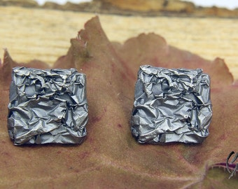 Earrings made from blackened Silver 925 /-, crumpled, large square